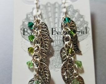 Leaf Earrings ~ Green