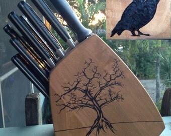 Handmade Woodburned Tree & Owl Knife Block
