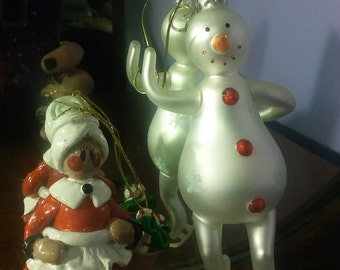 Vintage Skating Snowman and Mrs Claus Christmas Ornament