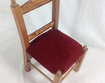 Vintage Doll Chair Beautiful Wood And Velvet Doll Chair Doll Supplies