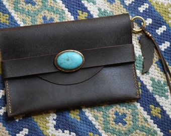 Scalloped Envelope Leather Clutch