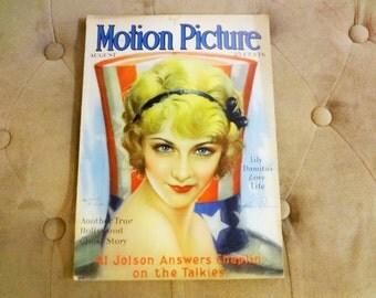 RARE! Motion Picture Magazine  August 1929 Josephine Dunn Patriotic Americana cover!