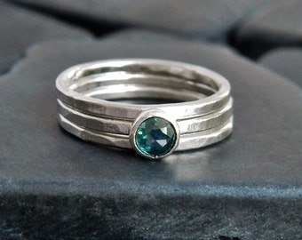 Genuine Blue Diamond Stacking Ring Set, Rose Cut Diamond, Sterling Silver, Set of 3 Rings, Minimalist Ring, Wedding Ring Set, Gaia's Candy