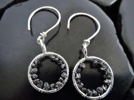 Rough Black Diamond and Sterling Silver Circle Earrings