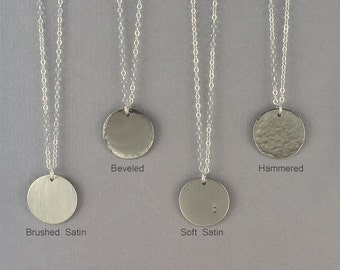 Silver Disc Necklace, Silver Layering Necklace, Gold Layered Necklace, Name Tag Necklace, Bridesmaid Necklace,Layered and Charmed 16mm LC102