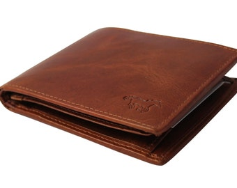 Leather men's wallet Billold in color light brown Cognac Brown with RFID ant Skimm Protected, and additional space for Passes art. 1113