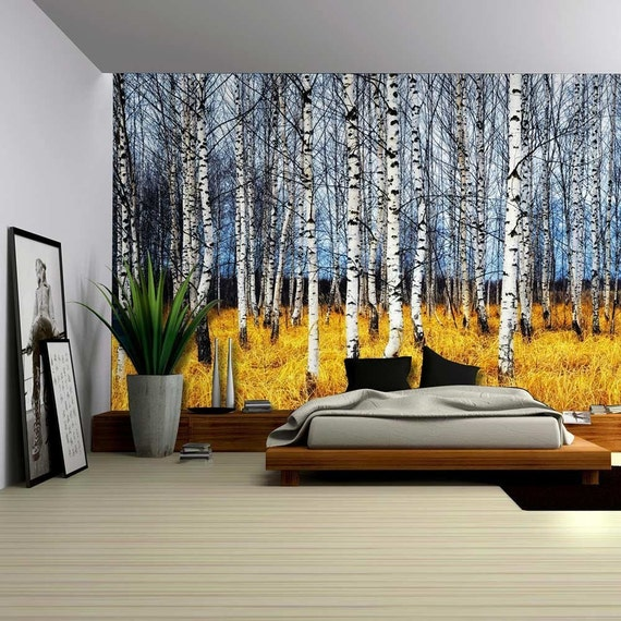 Landscape mural of a birch tree forest wall mural removable for Birch tree forest wall mural