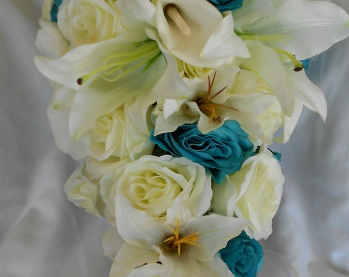 Turquoise and ivory bridal bouquet cascade style  lilies , callas and roses 2 pieces