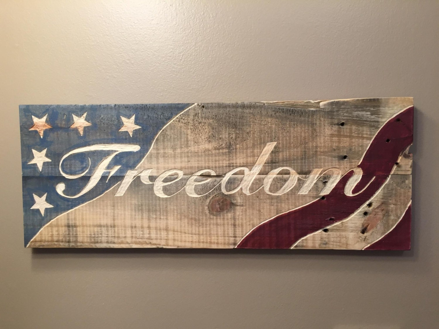 Hand Engraved Reclaimed Wooden Sign Freedom