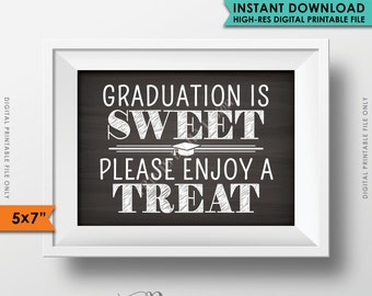 """Graduation is Sweet Please Take a Treat, Sweet Treat Graduation Party Sign, Cupcake, Candy, 5x7"""" Chalkboard Style Printable Instant Download"""