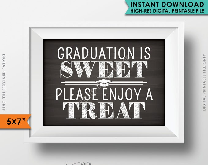 "Graduation is Sweet Please Take a Treat, Sweet Treat Graduation Party Sign, Cupcake, Candy, 5x7"" Chalkboard Style Printable Instant Download"