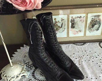 Late Victorian/Edwardian Black Leather Boots