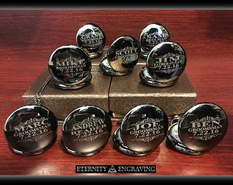 10 Groomsman gifts- Silver custom engraved pocket watches - 10 Silver finish pocket watches -Personalized engraved gift -10 Wedding gift set