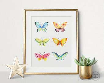 Butterflies Wall Art Nursery or Living Room Printable - Colorful Bright Watercolor Wall Decoration - Printable Wall Decor - INSTANT DOWNLOAD