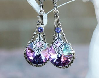 Swarovski earrings, silver earrings, fantasy earrings, vintage earrings, victorian earrings, purple earrings, pink earrings