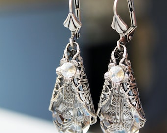 Vintage fantasy victorian swarovski silver plated brass  earrings