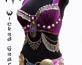 Belly dance bra and belt set, matching bra and belt, tribal fusion costume, tribal fusion bra belt set