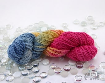 Arctic sunrise,Hand dyed chunky Thick & Thin yarn 140 yards