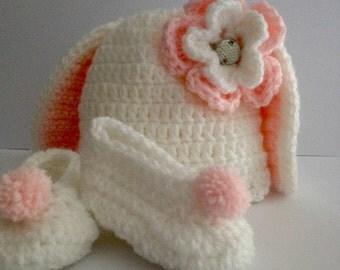 Crochet Baby Rabbit Hat, Booties & Diaper cover