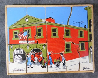See-Inside Puzzle - Creative Playthings - Vintage - 1950s - 16 Pcs - Fire House