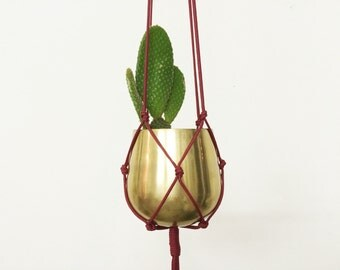 BURGUNDY BABY Vintage Hanging Planter | Modern Macrame Planter | Plant Hanger | Minimalist Home Decor