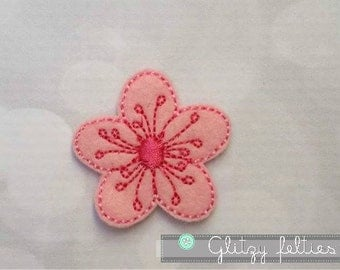 Cherry Blossom Feltie - Set of 4 UNCUT - Cherry Blossom Embroidered Felt Applique