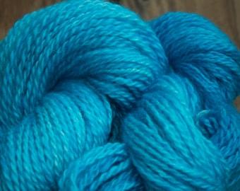 Handspun Border Leicester 2 ply Torquoise Yarn
