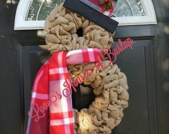 Christmas wreath, Snowman wreath, Burlap Christmas wreath, Rustic Christmas wreath, Christmas decor, Snowman decor, Burlap wreath, Christmas