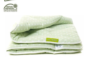 my-teepee soft and thick play mat / blanket, green with white dots, cover 100% cotton Oekotex 100, size 100 x 100 cm, made in Germany