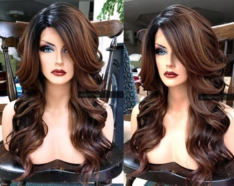 Ombre Lace Front Wig // Brown Auburn + HEAT SAFE // Lace Part Wavy Wig w/ Curly Black Dark Roots
