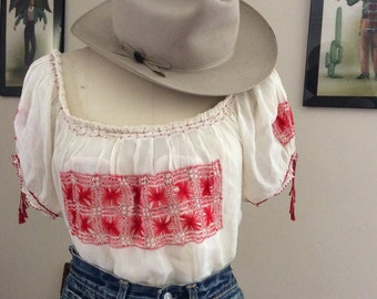 Vintage embroidered rayon peasant blouse.