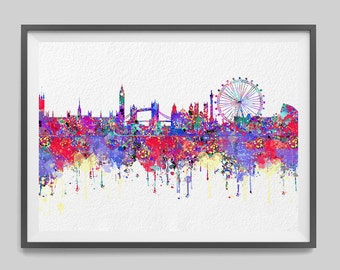 London skyline watercolor print London cityscape poster London illustration geography art Cities Skylines [397]