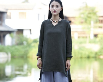 Womens Autumn Asymmetric Hem Long Sleeve Cotton Linen Blouses, Womans Autumn Cotton Linen T Shirts, Tops For Women, Dark Grey Blouses