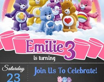 Chalk Care Bears Invitation / Care Bears Invitation / Care Bears Birthday / Care Bears Themed / Care Bears
