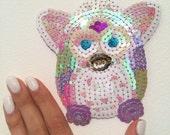 Super Cute Kawaii Pastel 90s original rainbow Furby sequin patch - One of a Kind Handmade