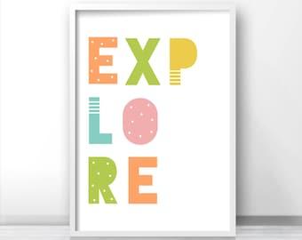 Explore Nursery Wall Art, Nursery Print, Printable Kids Art, Digital Nursery Art, Playroom Decor, Instant Download Nursery Decor, Kids Print