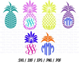 Tropical Pineapple Monogram Frame Design Files, Use With Silhouette Software, SVG Font Download, EPS File, Svg Font, Silhouette - CA253