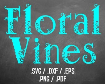 Floral Vines Font Design Files For Use With Your Silhouette Studio Software, DXF Files, SVG Font, EPS Files, Svg Fonts, Curly Silhouette