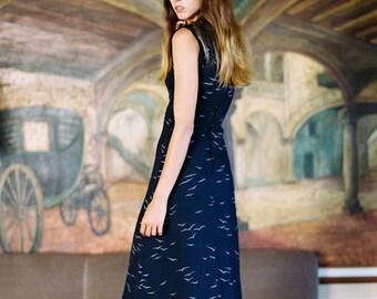 birds print vintage dress