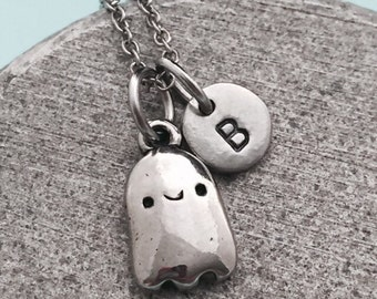 Ghost necklace, ghost charm, Halloween necklace, personalized necklace, initial necklace, monogram