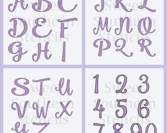 """Brush Script Letters and Numbers Cookie Stencils each letter & # is 1.25"""" 4 Separate Stencils (3 Options) READ Description!"""