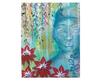 Spiritual art - Buddha art - Buddha meditation - lotus art - zen art - Buddha lotus painting - lotus flower - Buddha,red, red lilies