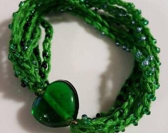Green and blue slip on crocheted bracelet