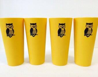 Nasco Plastic Owl Tumblers Mustard