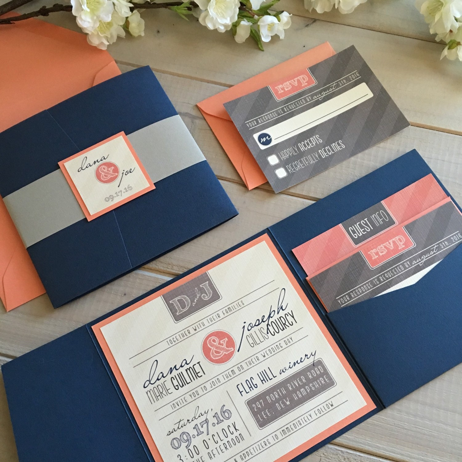 Modern wedding invitations navy and coral wedding for Royal blue and coral wedding invitations