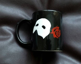 Hand painted mug inspired by the Phantom of the Opera