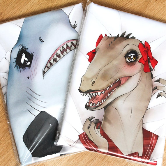 Shark Pillow That Eats You sexy velociraptor dinosaur dakimakura body hug pillow case
