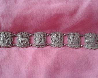 Solid silver vintage Egyptian panel bracelet