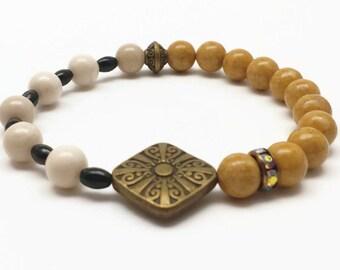Beaded Bracelet, Multi Color Bracelet, Riverstone Bracelet, Riverstone Jewelry, Boho Jewelry, Stacking Bracelets, Gift for Her