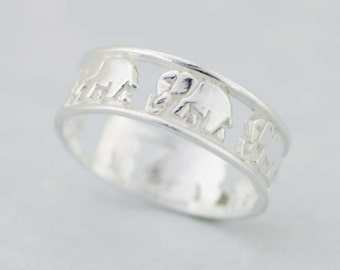 Elephant Band Solid 925 Sterling Silver, Sterling silver elephant ring, silver walking elephant ring, Elephant Ring, Good Luck Ring